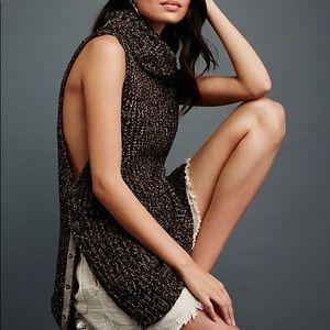 Free People Valentina Tunic Brown Sweater Sz L